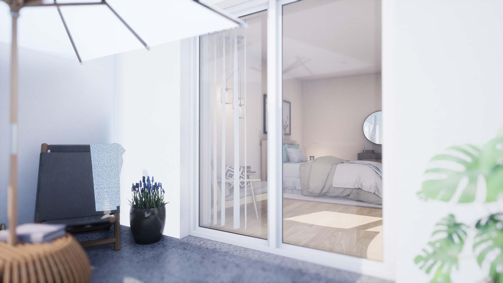 FOX CUBE 3 - Alt Friedrichsfelde - Blick vom Balkon ins Schlafzimmer